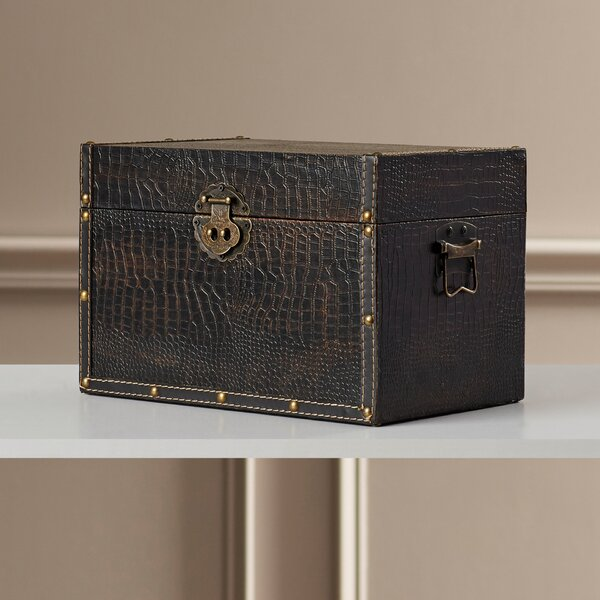 Maryport Decorative Leather Wooden Trunk by Charlt