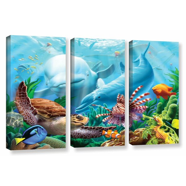 Seavilian 3 Piece Graphic Art on Wrapped Canvas Set by Zoomie Kids