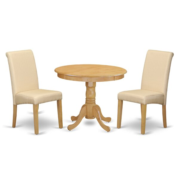 Paramore Table 3 Piece Solid Wood Dining Set by Charlton Home