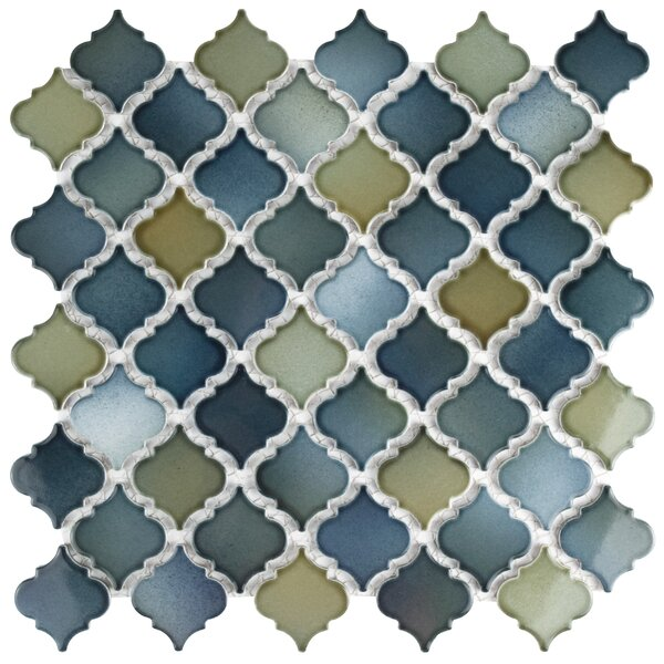 Pharsalia 2 x 2.25 Porcelain Mosaic Tile in Blue/Green by EliteTile