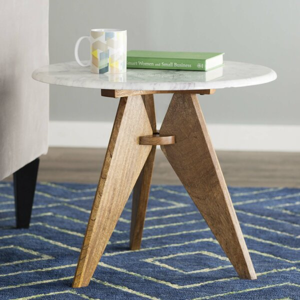 Koury Tall Marble Top 3 Legs End Table By Mercury Row