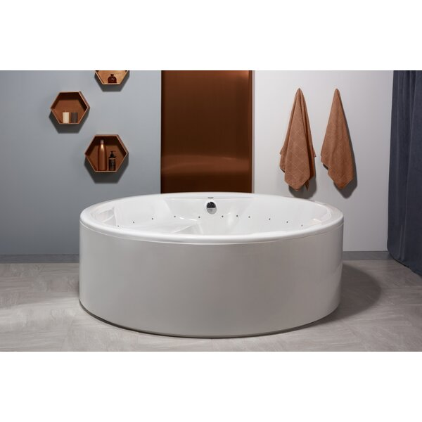 "Allegra 74.75"" x 74.75"" Freestanding Whirlpool Bathtub by Aquatica"