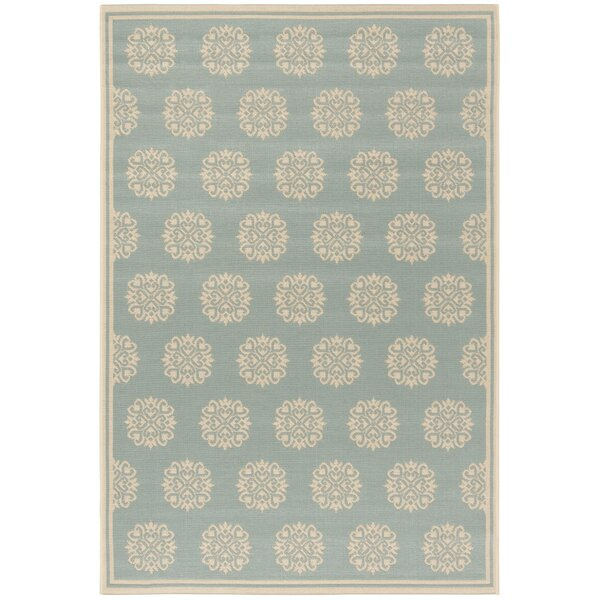 Miesha Aqua/Cream Area Rug by Red Barrel Studio