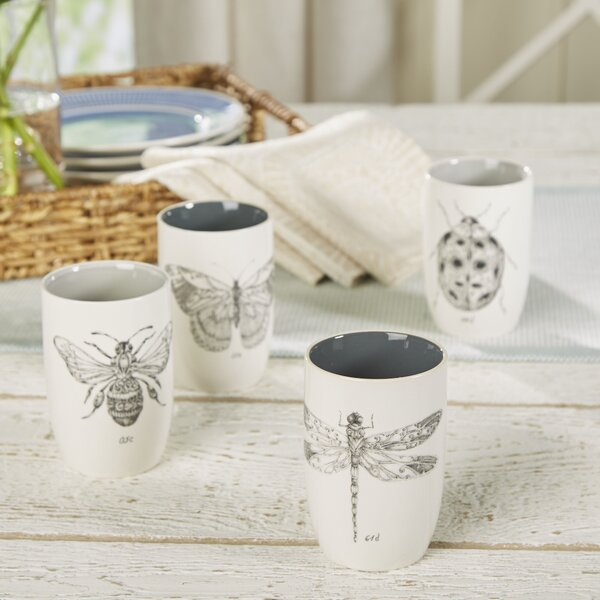 Percy Insect 8 oz. Ceramic Every Day Glass (Set of 4) by Birch Lane™