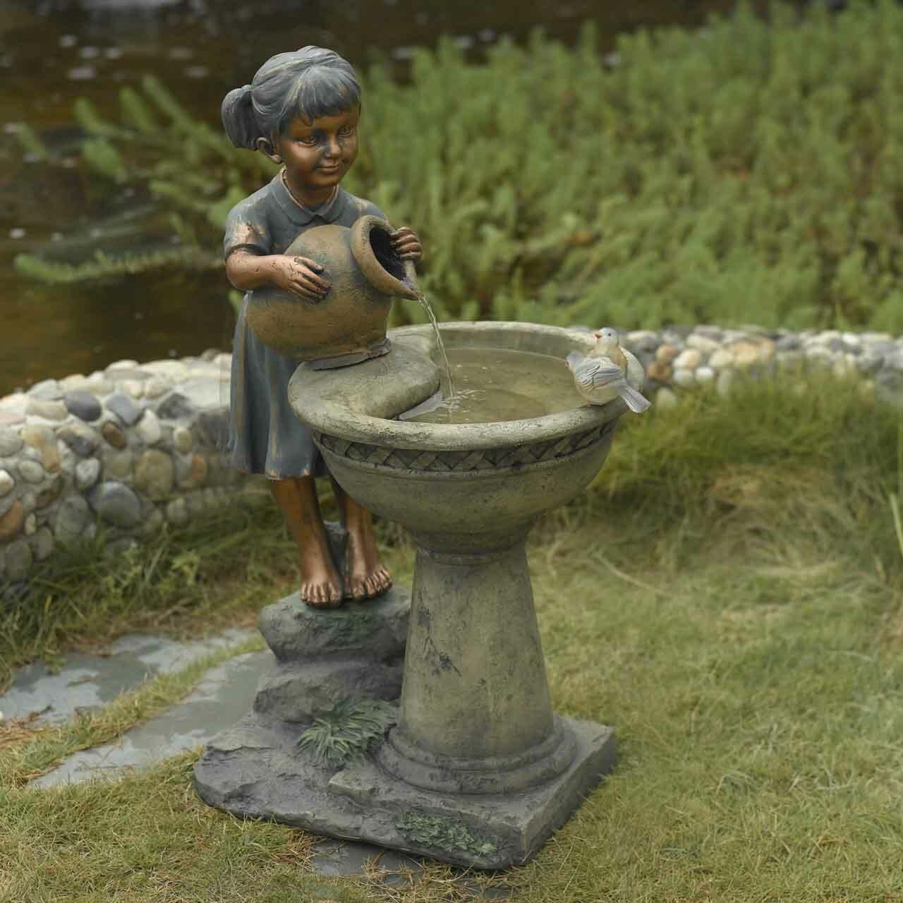 country Girl kid garden SOLAR light Outdoor rustic lamp STATUE Bird feeder bath