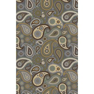 Hinman Paisley Rubber Backed Gray Area Rug