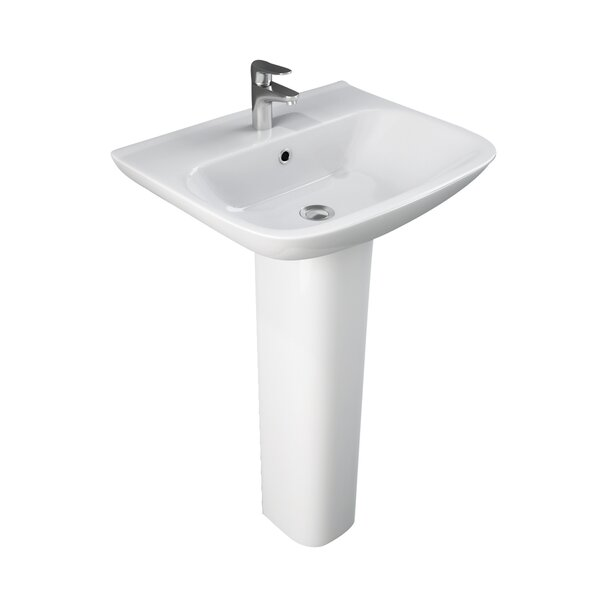 Eden Vitreous China 20.5 Pedestal Bathroom Sink with Overflow by Barclay