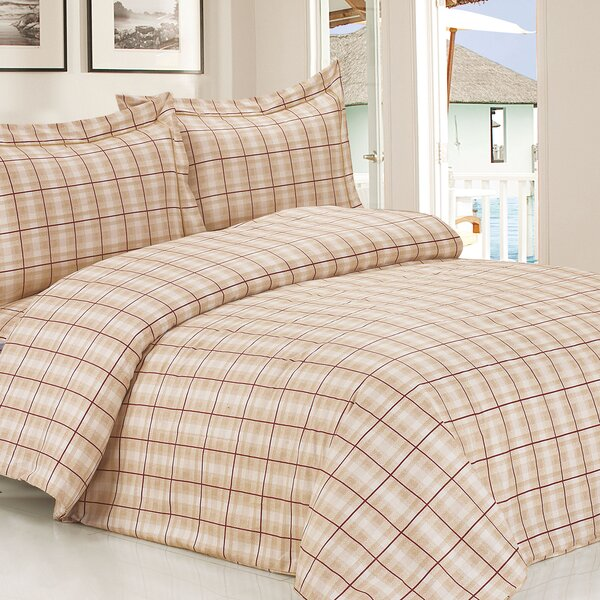 French Soft Brown Plaid Luxurious 6 Piece Duvet Cover Set by Violet Linen