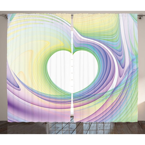 Cuadra Spires Abstract Fractal Heart Figure Caught in Whirl Odd Fantasy Exotic Art Print Graphic Print & Text Semi-Sheer Rod Pocket Curtain Panels (Set of 2) by Latitude Run