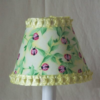 Lovely 7 H Fabric Empire Lamp Shade ( Screw On ) in Yellow/Green