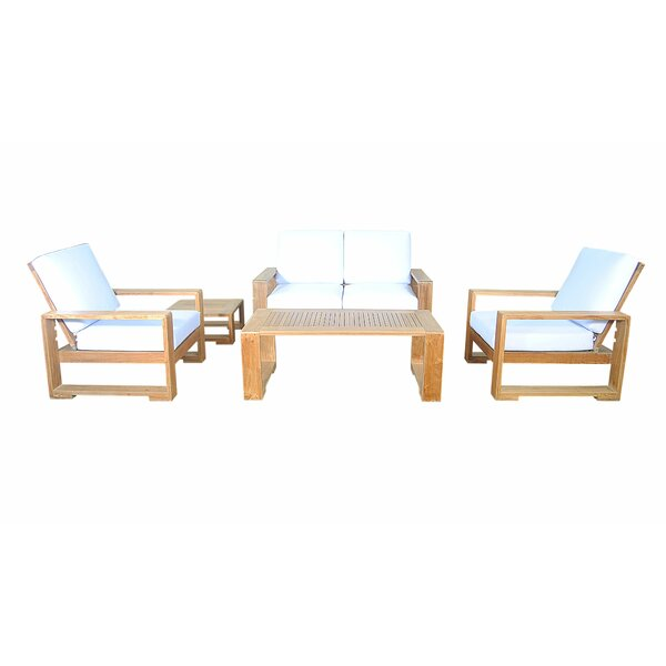 Lochlan Deep 5 Piece Teak Sofa Seating Group with Sunbrella Cushions by Rosecliff Heights