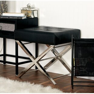 Price Check Stainless Steel and Tufted Leather Vanity Stool By Cole & Grey