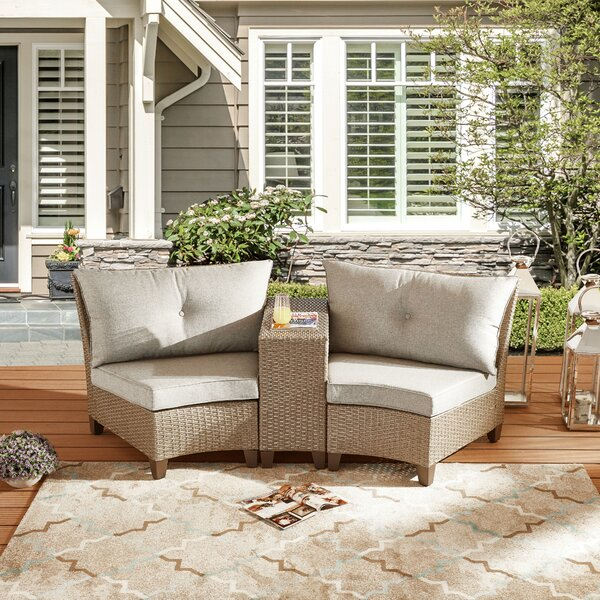 Rocco 3 Piece Rattan Sofa Seating Group with Cushions by Highland Dunes