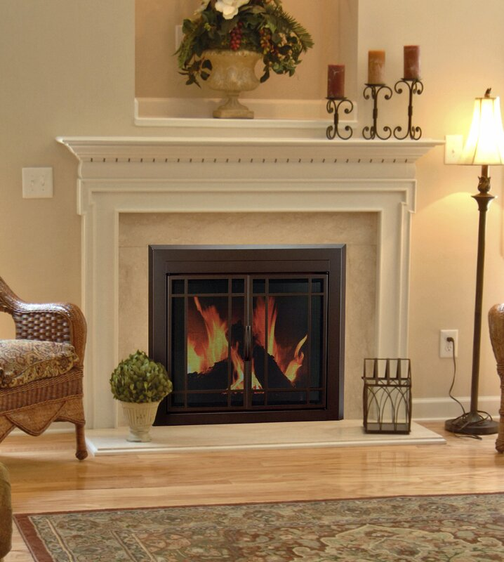 Pleasant Hearth Enfield Prairie Cabinet Style Fireplace Screen and ...
