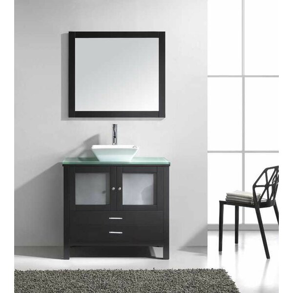Millan 36 Single Bathroom Vanity Set with Tempered Glass Top and Mirror by Latitude Run