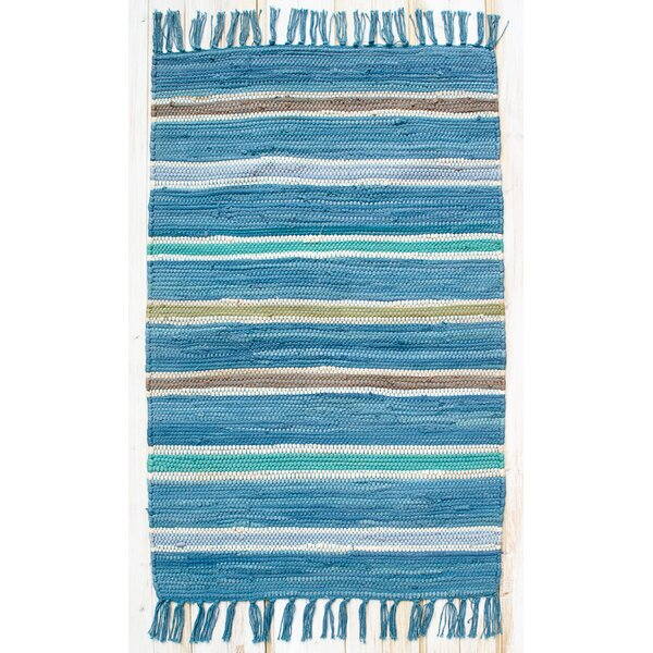 Cottage Bermuda Blue Stripe Rug by CLM