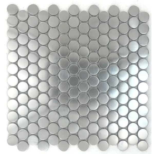 Penny 1 x 1 Metal Mosaic Tile in Silver by Luxsurface