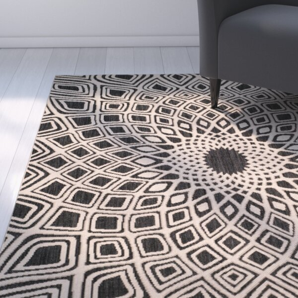Mullen Black/Beige Indoor/Outdoor Area Rug by Ebern Designs