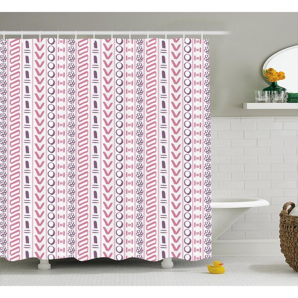 Cyrano Ancient Flowers Circles Shower Curtain by Bungalow Rose