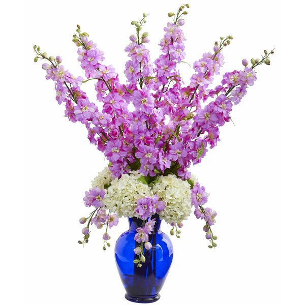 Artificial Delphinium and Hydrangea Floral Arrangement in Vase by Darby Home Co