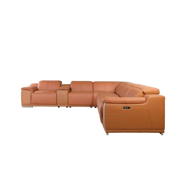 Waldorf  Leather Power Symmetrical Reclining Sectional By Global United