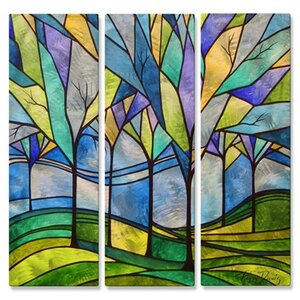 'Stain Glass Trees' by Peggy Davis 3 Piece Graphic Art Plaque Set by All My Walls
