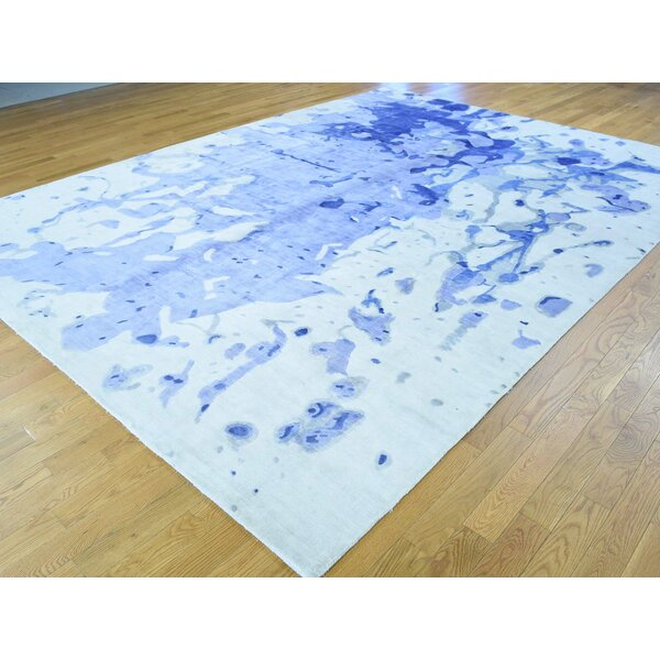 One-of-a-Kind Christina Abstract Design Art Handwoven Ivory Silk Area Rug by Isabelline