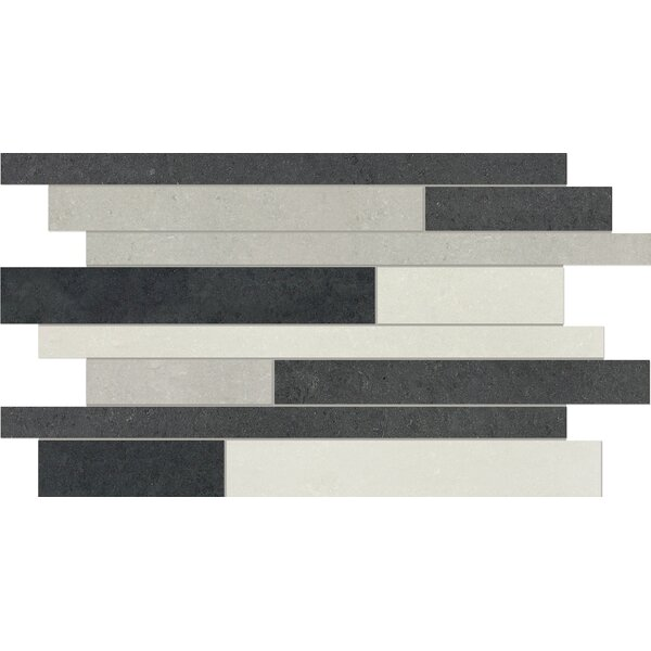 Random Sized Porcelain Mosaic Tile in Polished Raven by Parvatile