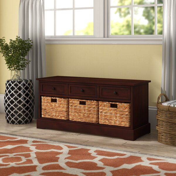 Ottilie 6 Drawer Wood Wicker Storage Bench by Andover Mills