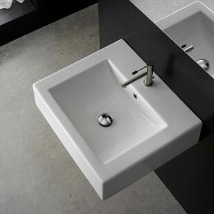 Compare prices Ceramic 24 Wall Mount Bathroom Sink with Overflow By Scarabeo by Nameeks