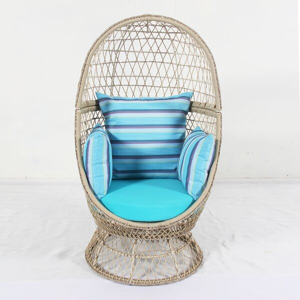 Zanna Swivel Patio Chair with Cushions by Bungalow Rose