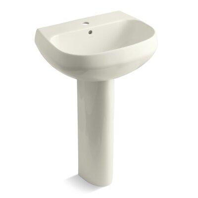 Pedestal Sink Ceramic Overflow Sink Faucet Mount Single photo