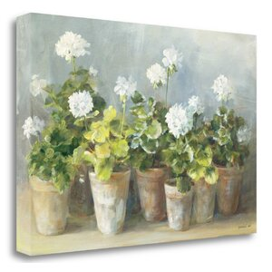 'White Geraniums' Print on Canvas by Tangletown Fine Art