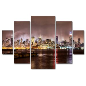 'Midtown Manhatten Over Hudson River' by David Ayash 5 Piece Photographic Print on Wrapped Canvas Set by Trademark Fine Art