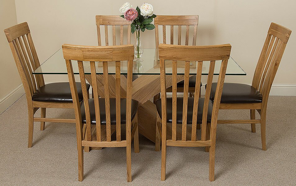 Ediz Solid Oak Glass Dining Set with 6 Chairs