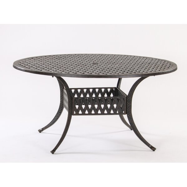 Basket Weave Round Cast Aluminum Bistro Table by AIC Garden & Casual