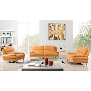 Cirque 3 Piece Leather Living Room Set