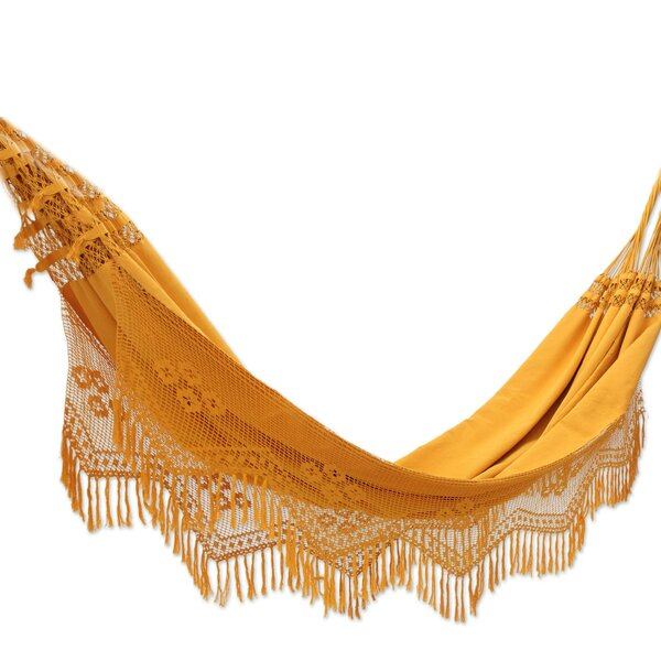 Maaria Double Person Summertime Sunsets Hand-Woven Brazilian Sustainable Cotton with Crocheted Fringes Indoor/Outdoor Hammock by World Menagerie