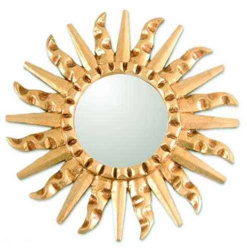 Mohena Wood Modern Carved Wall Mirror by Novica
