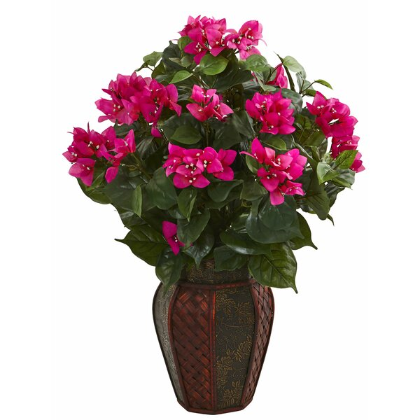 Artificial Bougainvillea Centerpiece in Planter by World Menagerie