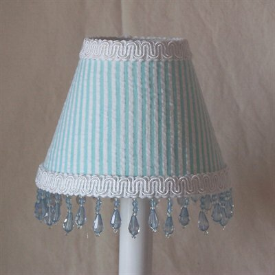 Ice Princess 7 H Fabric Empire Lamp Shade ( Screw On ) in Blue/White