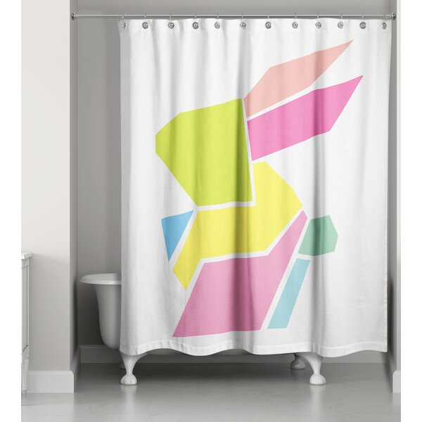 Gammon Geometric Neon Bunny Shower Curtain by Ivy Bronx