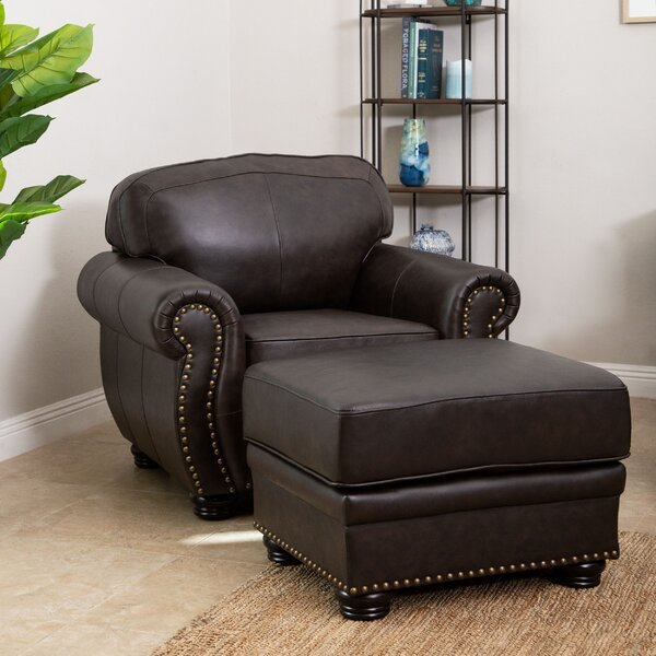 Hotchkiss 24-inch Armchair and Ottoman by World Menagerie World Menagerie