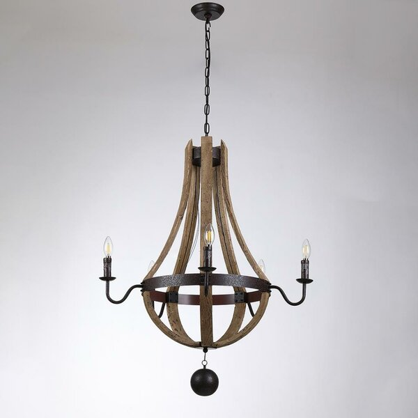 Caulkins 5 - Light Candle Style Empire Chandelier by Rosalind Wheeler
