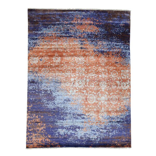 One-of-a-Kind Pegram Modern Broken Hand-Knotted Silk Blue/Orange Area Rug by World Menagerie