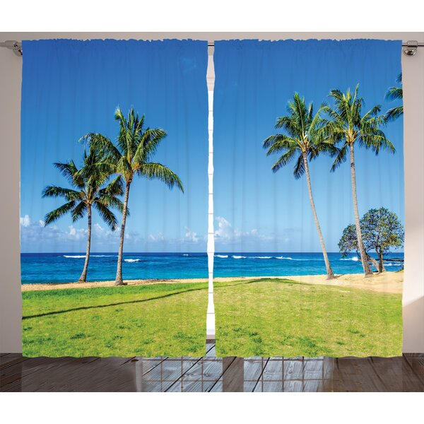 Coconut Palm Trees Graphic Print Room Darkening Rod Pocket Curtain Panels (Set of 2) by East Urban Home