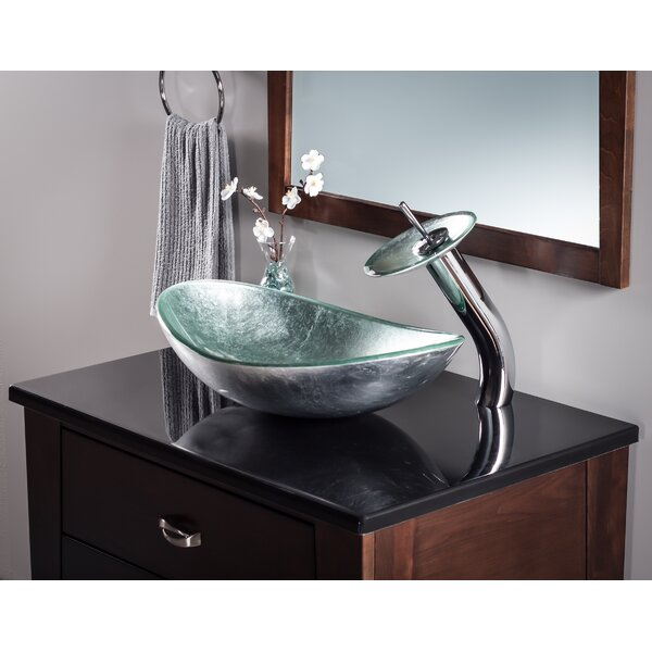 Argento Glass Oval Vessel Bathroom Sink by Novatto