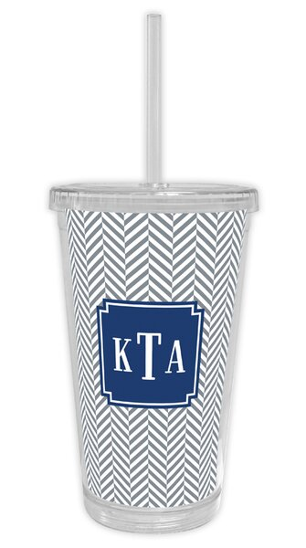 Herringbone Classic Monogram Beverage 16 oz. Plastic Travel Tumbler by Boatman Geller