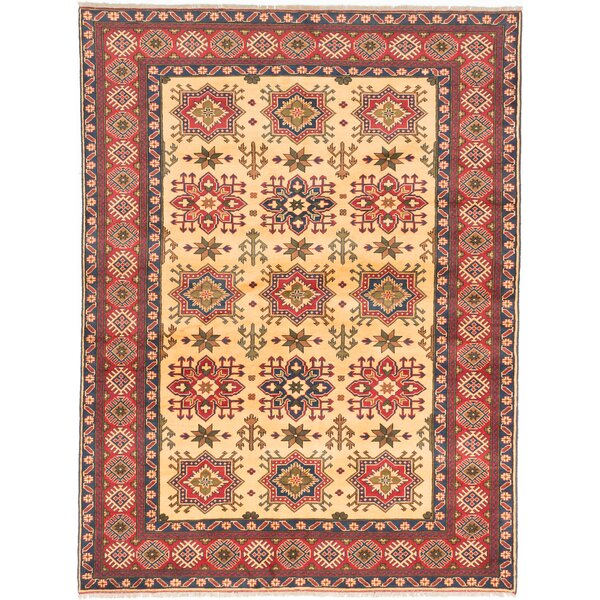One-of-a-Kind Kamren Hand-Knotted Beige/Red Area Rug by Isabelline