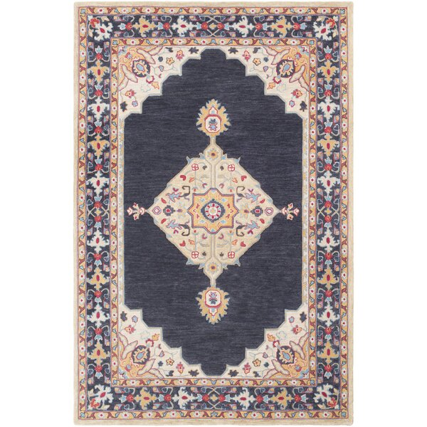 Edgerly Hand Tufted Wool Black/Khaki Area Rug by Bungalow Rose